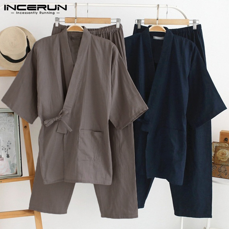 INCERUN Mens Kimono Pajamas Suits Robe Gown 2Pcs/Set Lounge Bathrobe Male Sleepwear Loose Cotton Japan Style Traditional Pajamas