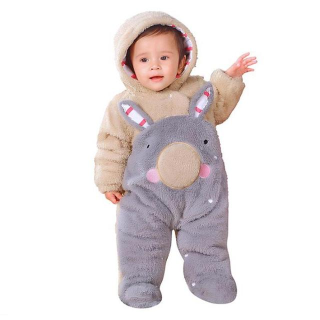2018 Infant Romper Baby Boys Girls Jumpsuit New Born Bebe Clothing Hooded Toddler Baby Clothes Cute Panda Romper Baby Costumes 1