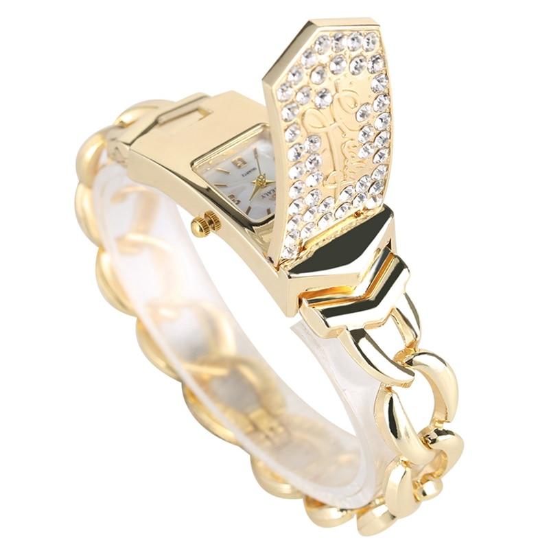 Luxury Embed Crystal Diamond Fashion Silver Gold Square Flap Cover Women's Bracelet Watch Golden Watch feminino horloges vrouwen