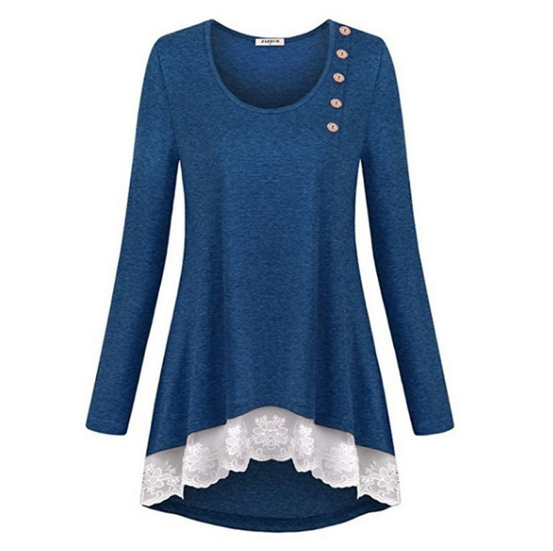 Plus Size Female T-Shirt Casual Long Sleeve T Shirts Dress For Women O-Neck Ladies Tops Vestidos Mujer 2018 Autumn Winter