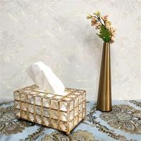 Crystal Tissue Box European American Style Tray Innovative Napkin Storage Box For Living Room Sample Room Car