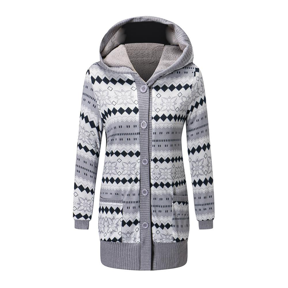 2019 Women Winter Coat Casual Printing Wool Stylish Knitted Coat Hooded Long Sleeve Thickening Cotton Jacket Women Outwear Parks image