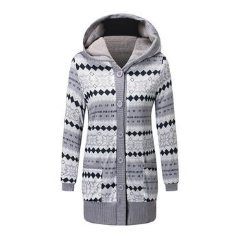 2019 frauen Winter Mantel Casual Druck Wolle Stilvolle Gestrickte Mantel Mit Kapuze Lange Hülse Verdickung Baumwolle Jacke Frauen Outwear Parks