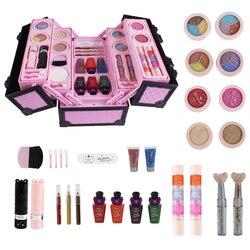 Machen Up Spielzeug Kinder Pretend Spielen Spielzeug Kleine Prinzessin Set Fall Kosmetische Kid Make-Up Kit Spielzeug Sicherheit Für Mädchen Kosmetische reise Box