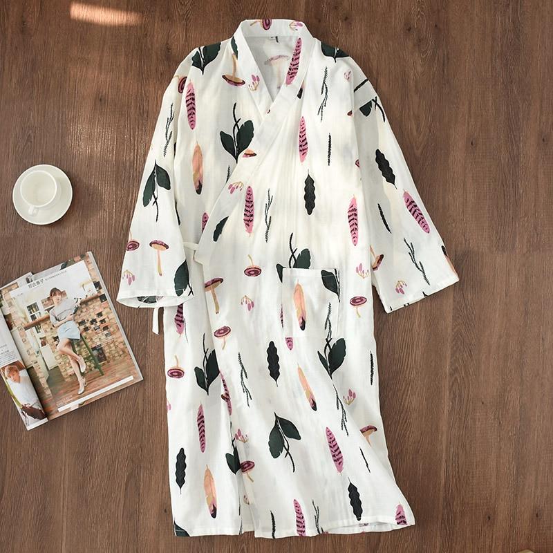 Women's Yukata Japanese Summer Bathrobe Kimono Mujer Verano Nightgown Full Cotton Long Sleeve Robe Lovely Pajamas Haori Homewear