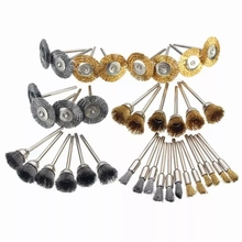 36Pcs/Set Car Detail Cleaning Brush Small Shank Copper Steel Wire Polishing Wheel for Dremel
