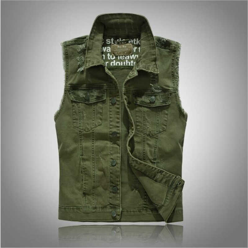 Мужской джинсовый жилет, винтажная куртка без рукавов, потертый джинсовый жилет, Homme Cowboy, «рваная» куртка на бретелях, мужская повседневная приталенная жилетка
