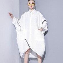 #0758 Summer2019 Long Shirt Dress Women Black/white Oversize Loose Irregular Big Pockets Plus Size Dresses For 7xl 8xl 9xl