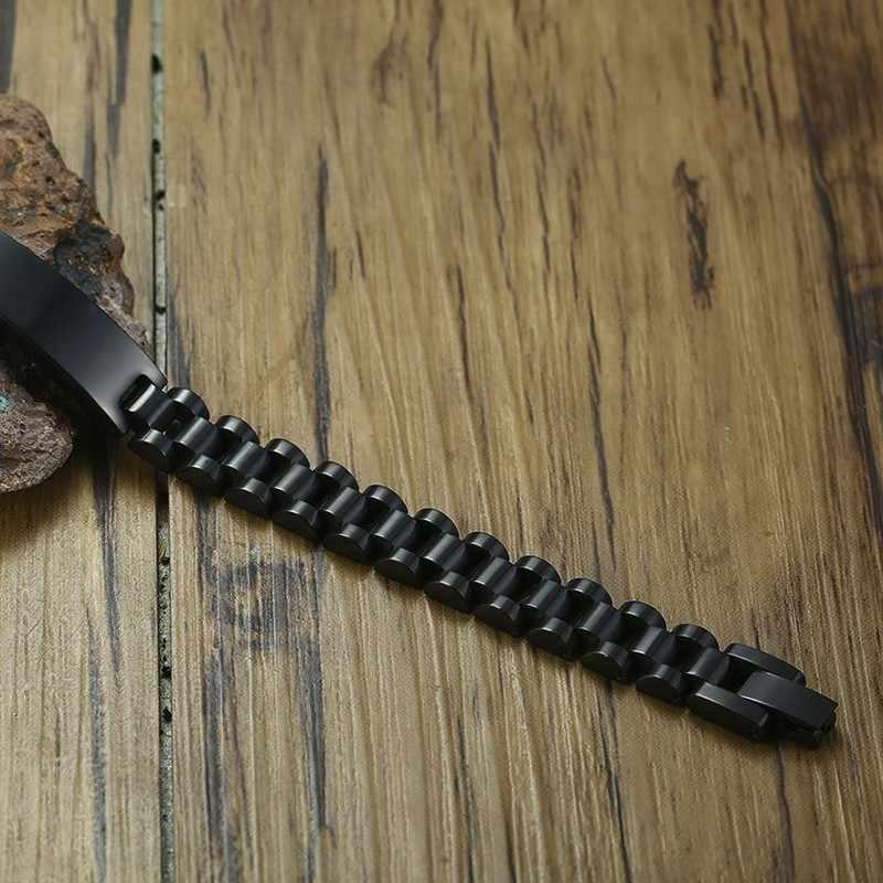 10MM קלאסי נירוסטה שעון צמיד עם השראה Engravable מזהה תג Brackelts Brazalet Brazalete ב שחור
