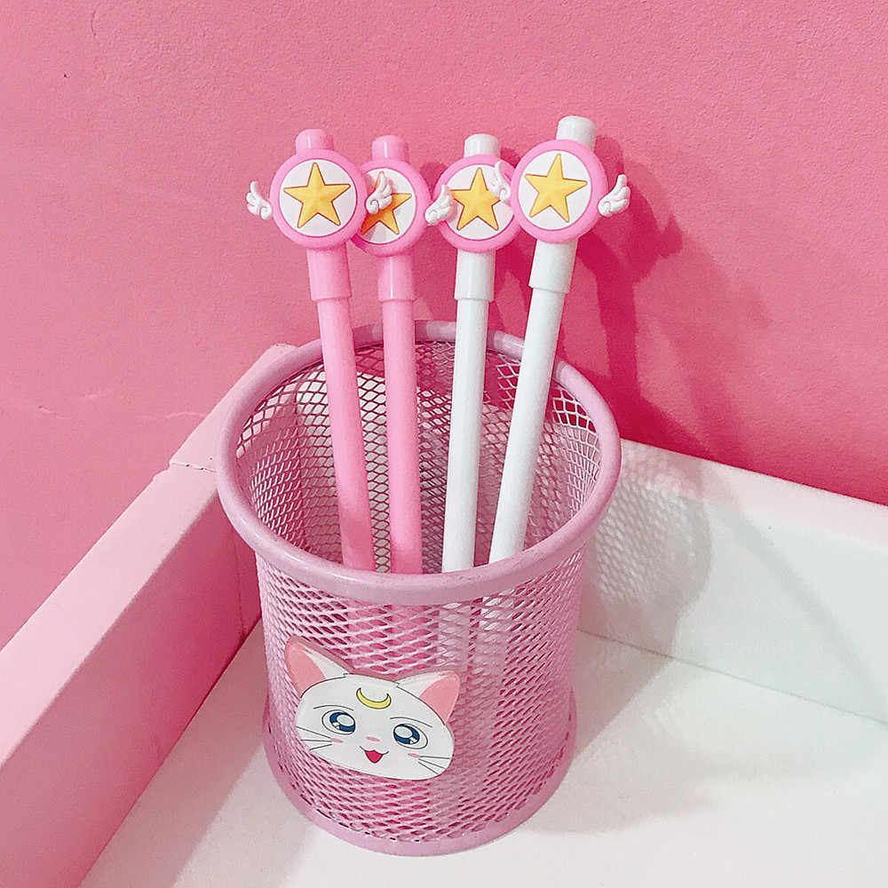 Ellen Brook 1 Piece Cartoon Kawaii School Supply Office Stationery Gel Pen Handles Creative Star Lovely Pink Wings Cute Gift