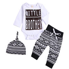 3PCS Newborn Infant Baby Boy Clothing Set Little Brother Rompers Tops + Striped Pants Hat Outfits Baby Boy Clothes(China)