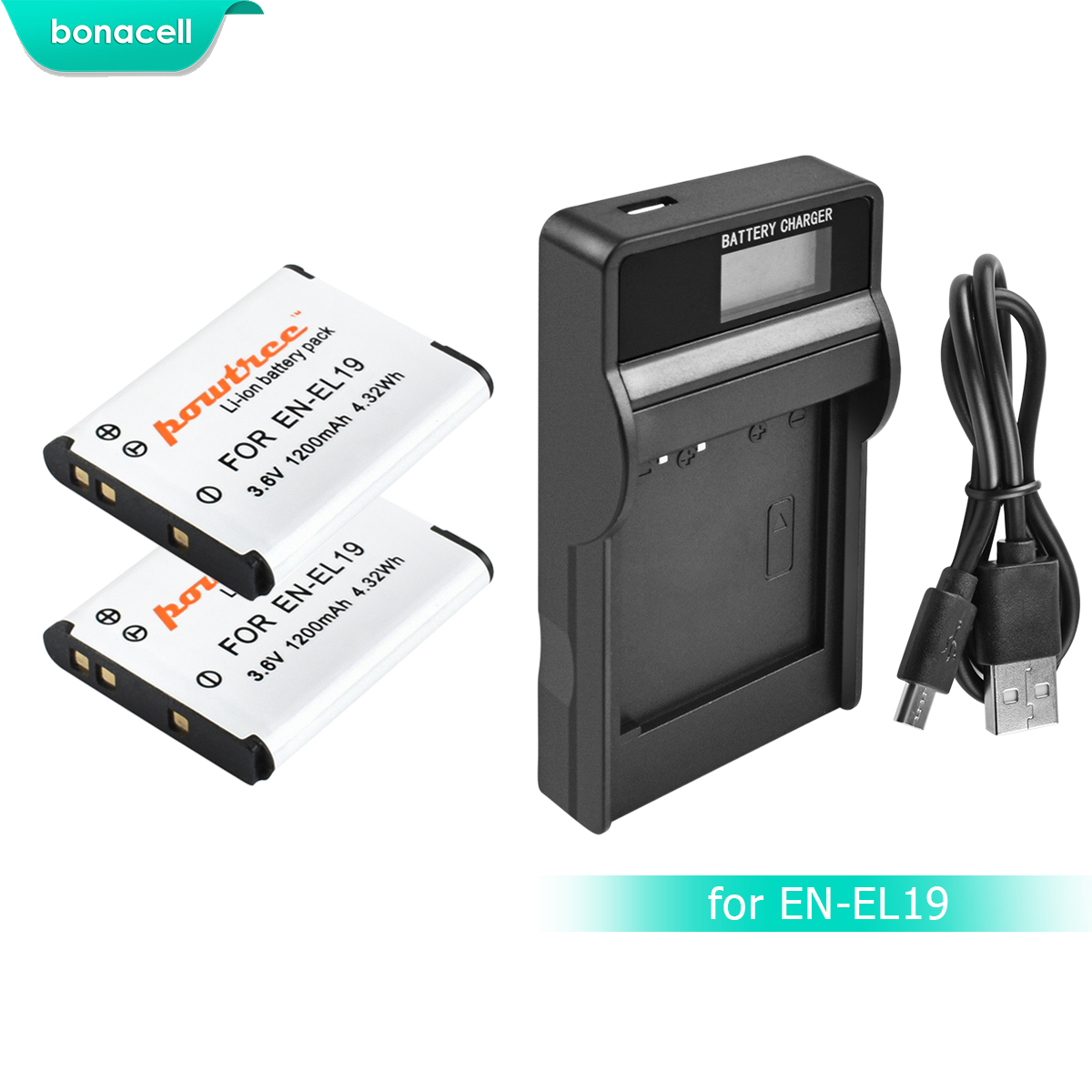 Bonacell 1200mAh ENEL19 EN-EL19 Battery+LCD Charger For Nikon Coolpix S32 S33 S100 S2500 S2750 S3100 S3200 S3300 S3400 S3500 L10