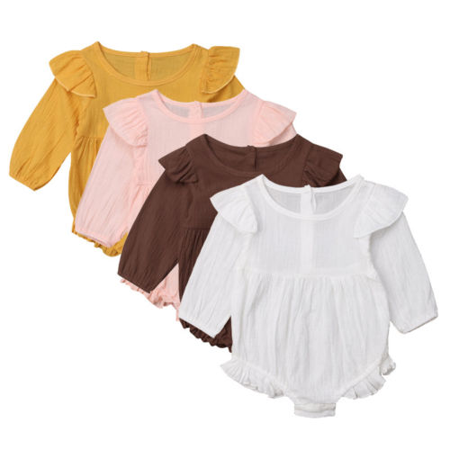 Newborn Baby Girl Long Sleeve   Romper   Ruffle Jumpsuit Set Outfit Clothes