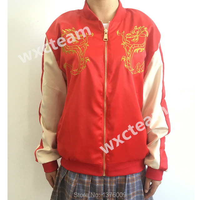 Women Jacket Stylish Mulan Princess Mushu Dragon Baseball Jacket High Quality Embroidery Outwear New Year Red Jacket Ralph 2 Gif