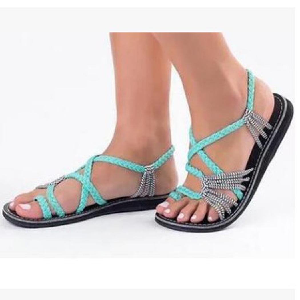 FäHig Frauen Strand & Outdoor Sandalen Mode Kreuz Criss Patchwork Weben Sandalen Schuhe Um Eine Reibungslose üBertragung Zu GewäHrleisten