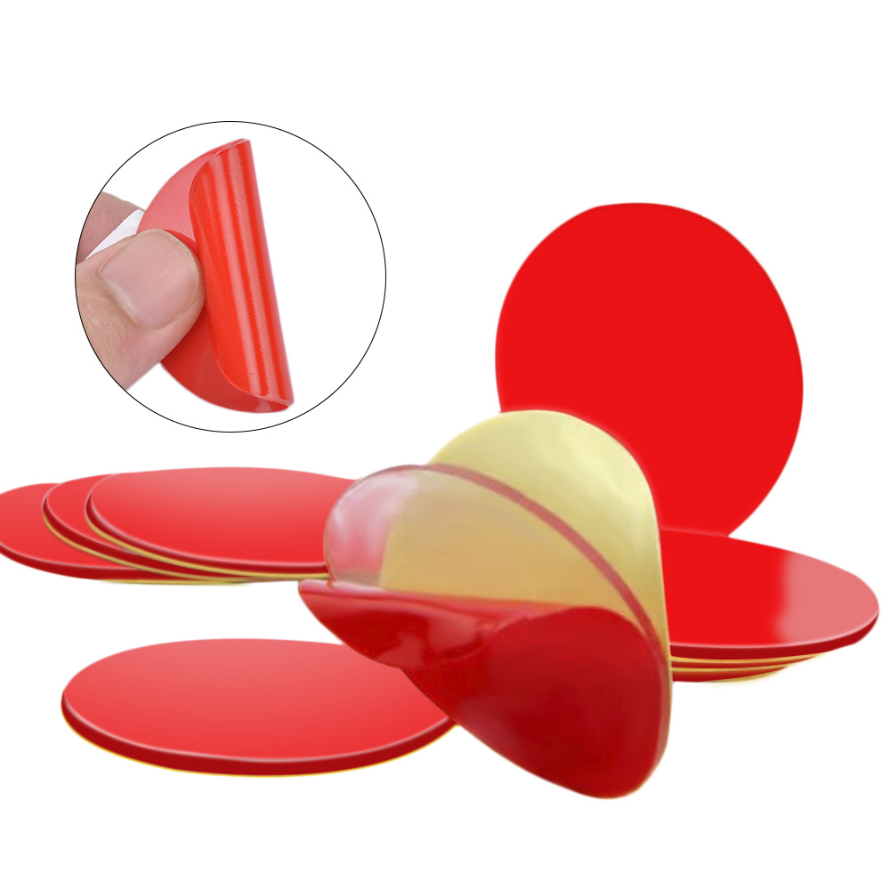 10Pcs 3M Circle Double Sided Tape Strong Acrylic Adhesive PET Red Film Clear Double Side Tapes No Trace LCD Phone Tablet Screen circle