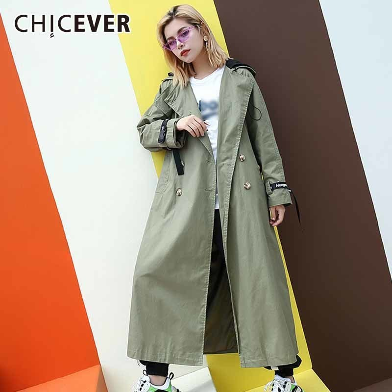 CHICEVER Autumn   Trench   Coats For Women's Windbreaker Hooded Long Sleeve Letter Ribbons Long Coat Female Oversize Fashion Clothes