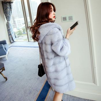 Faux Fur Coat Top Fashion Wide-Waisted Mink Fur Coat Women's Hooded Fox Fur Long Fur Soft Coat 2020 Winter New duoupa 2019 new fashion faux fur grain velvet coat coat long loose fur one coat faux fur large size women s fur windbreaker jack