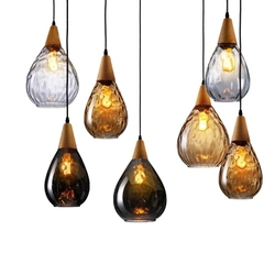 Nordic Loft oświetlenie LED żyrandol szkło vintage Led lampy wiszące światła do kawy Droplight jadalnia wiszące u nas państwo lampy Deco Avize w Wiszące lampki od Lampy i oświetlenie na