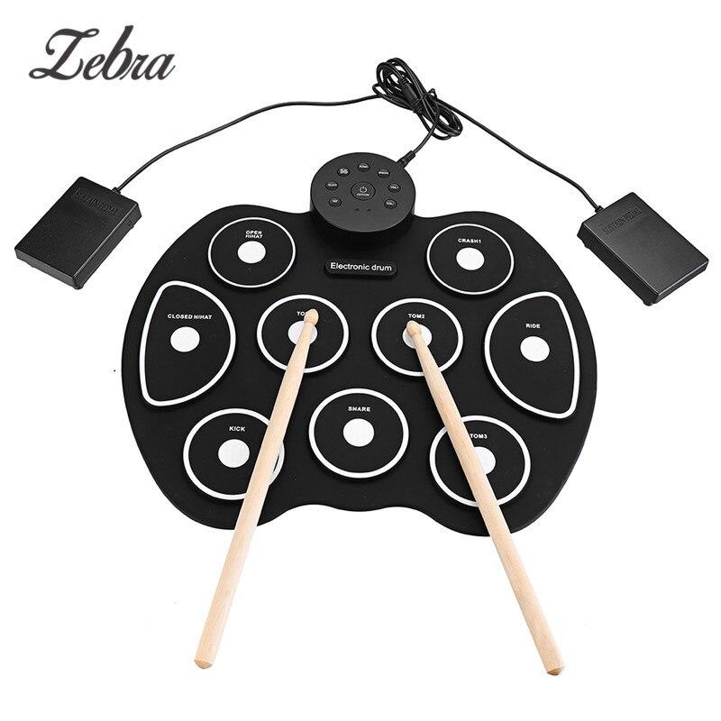 Kit de batterie enroulable G4002 9 tampons tambour électronique à tambour numérique avec baguettes pédales USB câble pour débutants