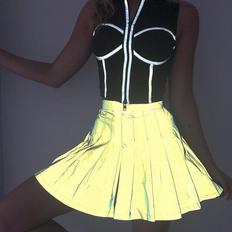 35c38e83e Nueva moda mujer falda reflectante Mini Falda plisada minifalda alta  cintura Harajuku A-line verano ...