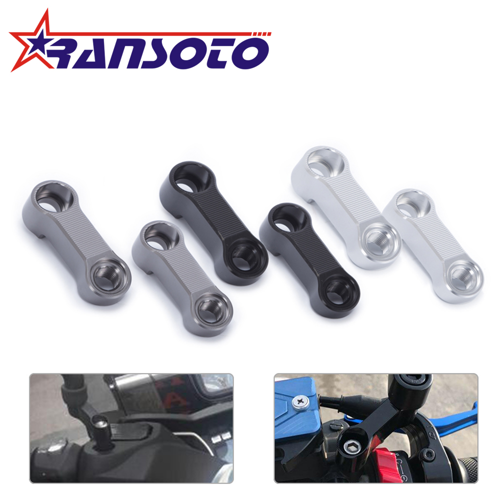 RANSOTO Two Both Right Turning Bolts Size 10mm Mirrors Extension Riser Extend Adapter For Yamaha FZ-07 MT-07