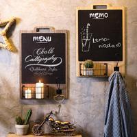 Nordic Wooden Wall Hanging Decoration Shelf Coffee Shop Wall Mount Blackboard Personalized Rack with Blackboard Organizer