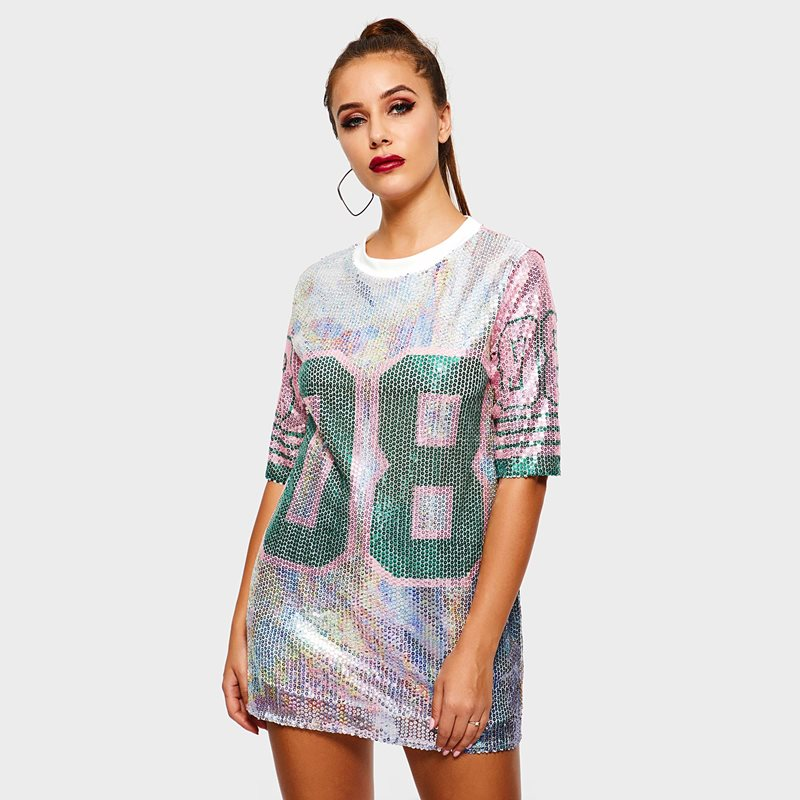 Women T shirts Casual Hip Hop Streetwear OL Plus Size Straight Number Sequins Female Party Fashion Sexy Punk Hot Long Tops