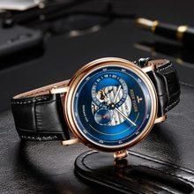 Мужские дизайнерские часы от бренда Reef Tiger/RT, автоматические часы с синим резервом, модные наручные часы на кожаном ремешке RGA1617