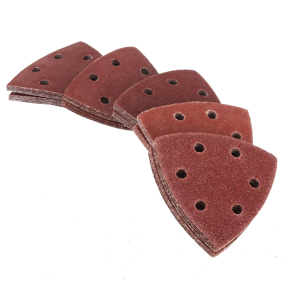 Mayitr 50Pcs 90mm Triangle Sanding Sheets Mouse Detail Sander Pads Sandpaper 40 60 80 100 120Grit For Grinding Abrasive Tools