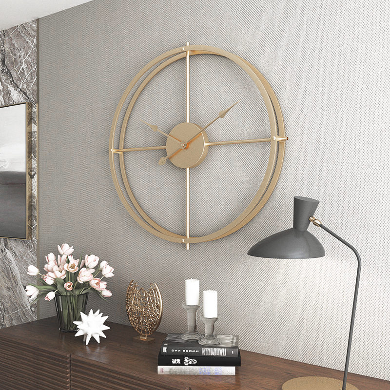 Nordic wall clock living room decoration minimalist home silent wall hanging table atmosphere creative modern luxury