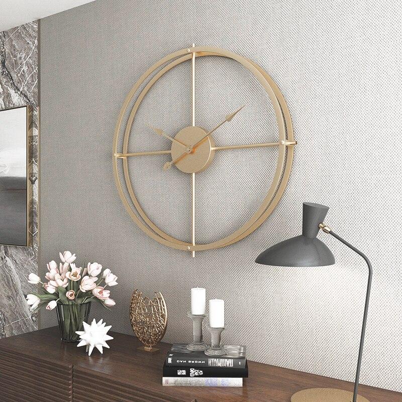 Reloj de pared nórdico decoración de sala de estar minimalista hogar silencioso colgante de pared ambiente creativo moderno reloj silencioso de lujo-in Relojes de pared from Hogar y Mascotas    1