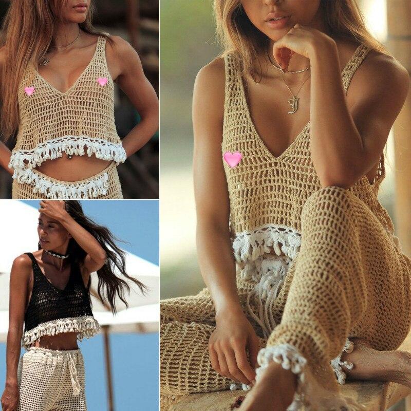 hirigin Brand Summer Women Sexy V Neck Crop   Top   Crochet Swim Cover up Lady Girls Lace Sleeveless   Tank     Top   Beach Vest Clothing