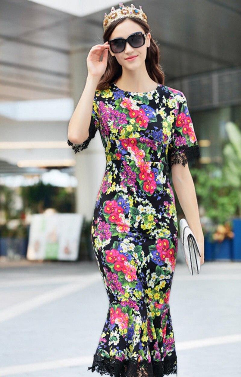 Diseñador Vintage Bodycon Vestido Largo Mujer Negro 2019 Pista Vestidos Ropa De Floral Las Verano Impresión Mujeres 8PHqwIP
