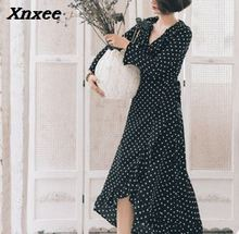 Xnxee Polka dot ruffle wrap long dress Women Split sleeve spring casual 2019 Streetwear black maxi vestidos