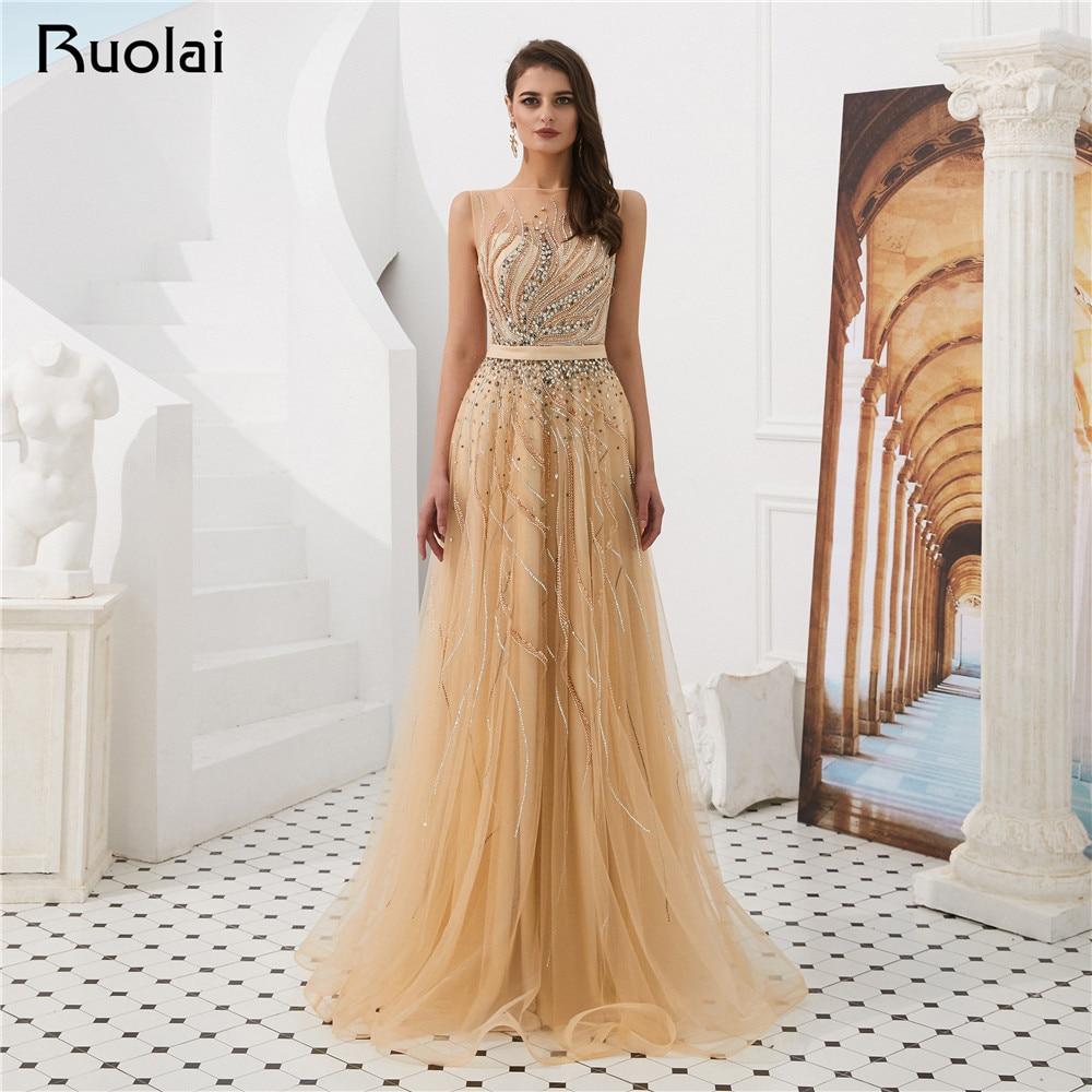 New Prom   Dress   2019 Boat Neck A-Line   Evening     Dress   Long Luxury Beaded   Evening   Party Gown Vestido de Fiesta SN15