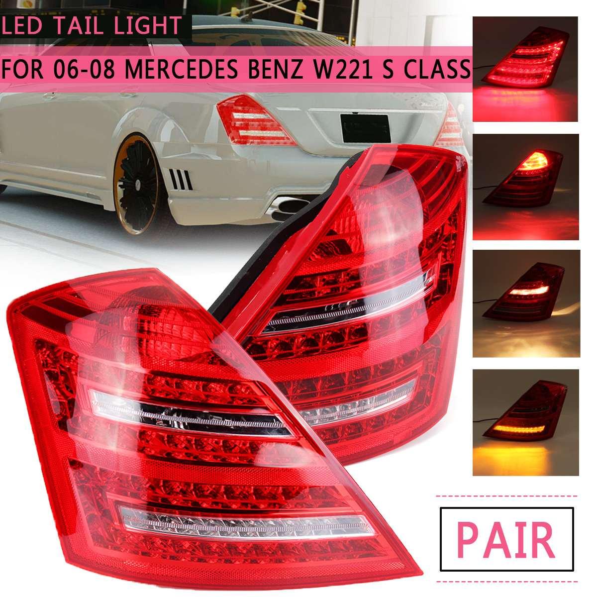 2 Pcs W221 Levaram Luzes Da Cauda Do Carro para Mercedes Benz Classe S 2006 2007 2008 Lanterna Traseira Modificada Freio Traseiro lâmpada de cauda Drl Styling