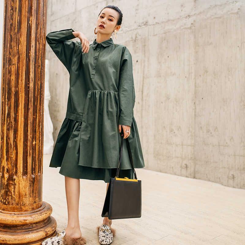 LANMREM/Новинка 2019 года; весеннее платье в стиле пэчворк для женщин; однобортное модное повседневное женское платье-рубашка; QF27706