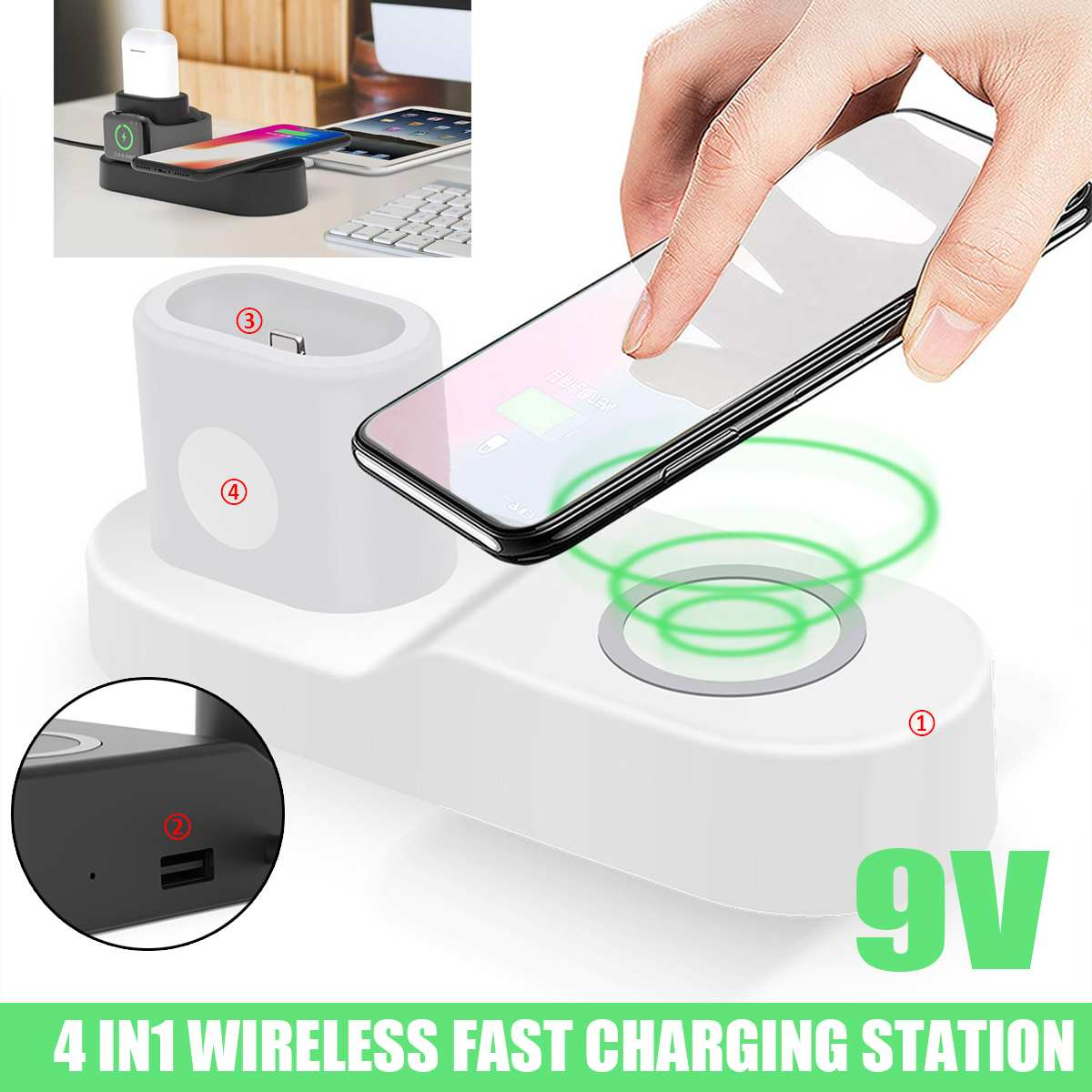 Qi Fast Wireless Charger 4 In 1 Charger Station USB