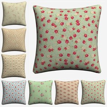 цена на Shabby Chic Girls Flowers Pattern Decorative Cotton Linen Cushion Cover 45x45 cm For Sofa Chair Pillowcase Home Decor Almofada