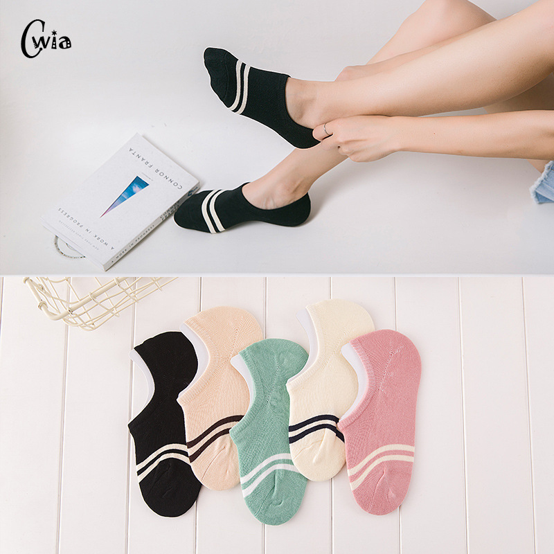 comfortable cotton girl women's socks ankle low female invisible color girl boy hosiery ladies boat sock slipper 4pair=8pcs WS97