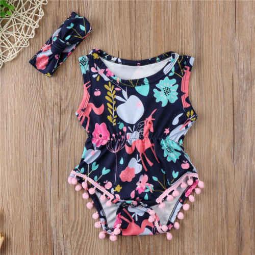 PUDCOCO Newborn Baby Girls Unicorn Cartoon Romper Bodysuit Jumpsuit Outfits Clothes Set Support wholesale