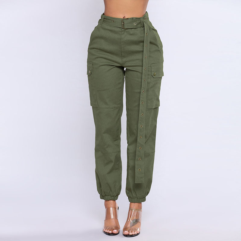 Spring Women Casual Military Cargo Pants Female Multi-pockets Overalls Ladies Straight Trousers Solid Plaid Pantalon Palazzo