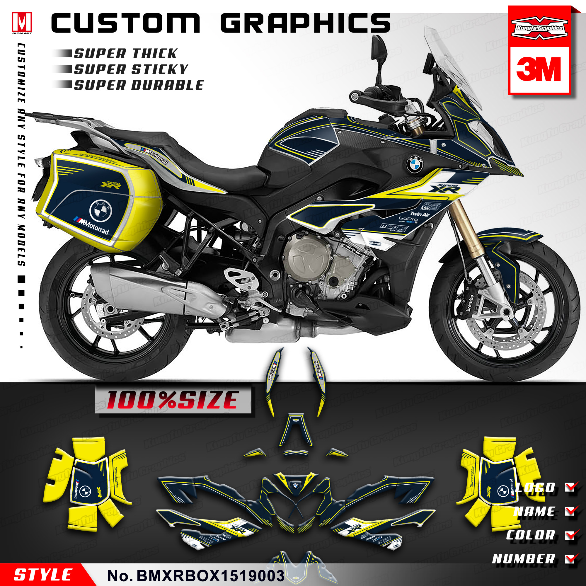 KUNGFU GRAPHICS Personalised Stickers Motorrad Grafik Kit for BMW S1000 XR 2015 2016 2017 2018 2019