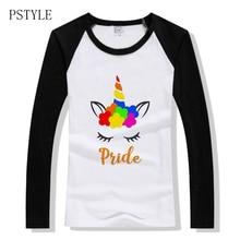 gay pride lgbt women tshirt harajuku kawaii unicorn rainbow print raglan long sleeve basic tee shirt spring lesbian pride tops raglan sleeve galaxy and unicorn print hoodie