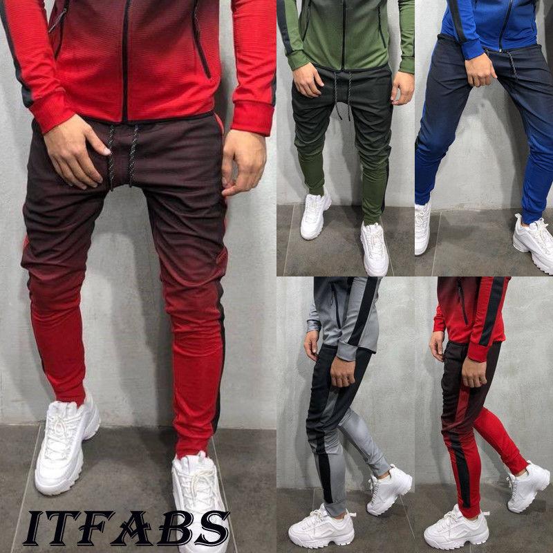 New Men's Super Slim Skinny Fit Designer Stretch Bottoms Joggers Gradient Pants Trousers
