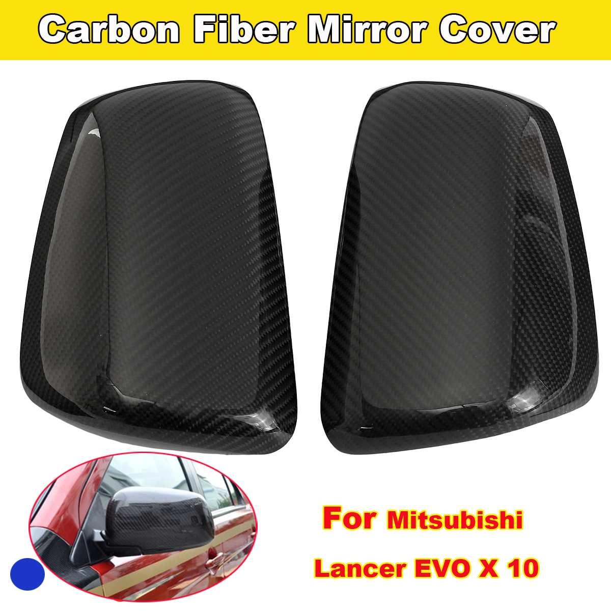 Couverture de miroir de porte latérale arrière en Fiber de carbone ABS pour Mitsubishi Lancer EVO X 10