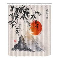 Chinese Ink Painting Bamboo Mountain Sunset Shower Curtain for Bathroom, Anti Mold Water Resistant Healthy Fabric Decor Curtain