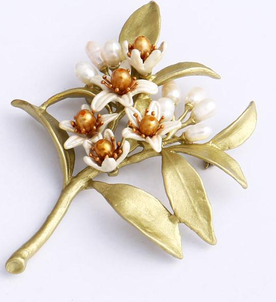 Free shipping High quality nerolic natural pearl brooch elegant leaves corsage