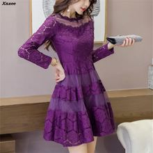 2018 Sexy Ladies  Dress New Spring Party Long Sleeve Mesh Patchwork Hollow Out A-Line Female Lace Dresses Xnxee